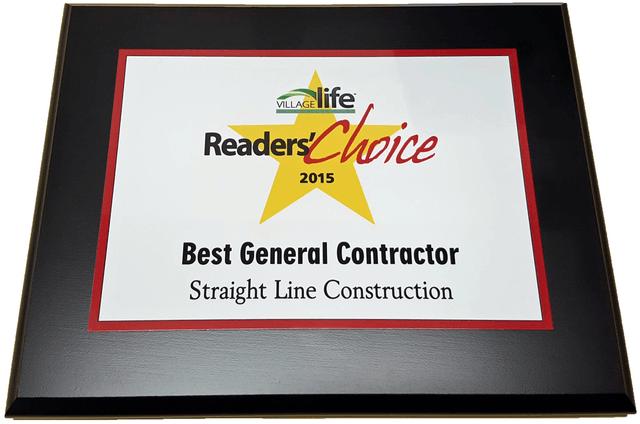 Straightline Construction Village Life reader's Choice Award
