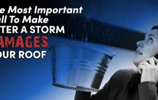 woman on the phone while holding bucket under a roof leak with the caption The Most Important Call To Make After A Storm Damages Your Roof